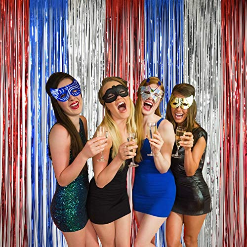- NSSONBEN 3 Pack Foil Fringe Curtains Metallic Tinsel Party Backdrop Wedding Decorations Photo Booth Props Birthday Baby Shower Door Window Decor (Red/Blue/Silver, 9FT x 8FT)