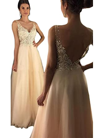 c26a70df6e435 Jicjichos Women's 2017 Long Lace Beaded Prom Dresses Tulle Formal Gowns  J008 at Amazon Women's Clothing store: