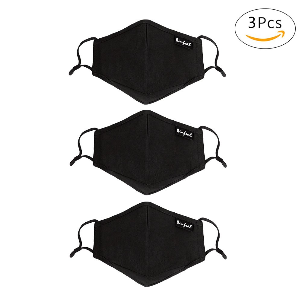 CHUANGLI 3 Pack Cotton PM2.5 Anti Pollution Mask Washable Black Face Mouth Mask with Adjustable Straps
