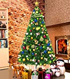 LUTER 7.5 Ft Artificial Christmas Tree Spruce Hinged Xmas Tree Christmas Decorations for Indoor Easy Assembly 1250 Branch with Metal Stand(Green)
