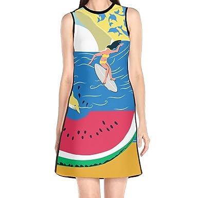 Hakalala Dress Womens Dresses Summer Beach Funny Print Prom
