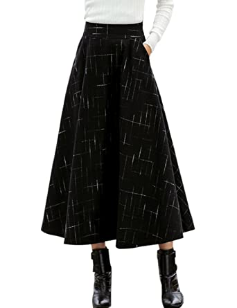 98ff7cabb96a Tanming Women s Elastic Waist Wool Plaid A-Line Pleated Long Skirt at Amazon  Women s Clothing store
