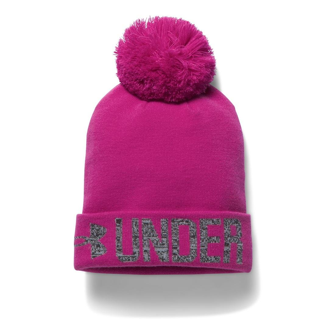 fe18166e4d0 Amazon.com  Under Armour Women s Graphic Pom Beanie Magenta  Shock Black Steel Hat One Size  Sports   Outdoors