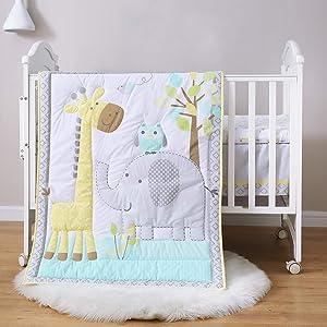 Spring Baby Crib Bedding Set for boy Girl, 3-Piece 100% Soft Natural Cotton Baby Bedding Set, Portable Standard Crib Bedding Set Neutral, Woodland Deer Elephant Crib Bedding Set, Yellow/Grey/Teal