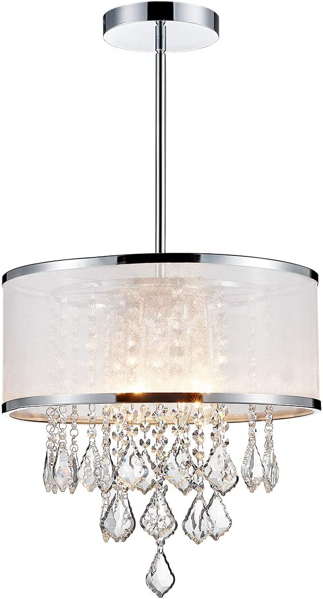 ANJIADENGSHI Modern K9 Crystal Raindrop Chandelier Lighting Drum LED Ceiling Light Fixture Pendant Lamp for Dining Room Bedroom Living Room 4 E12 LED Bulbs Height 14 x Width 16