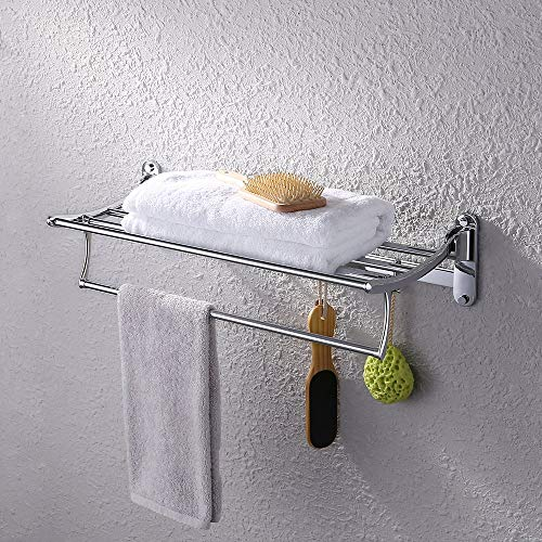 Kes Bathroom Foldable Towel Rack Shelf with Coat and Robe Hooks Wall Mount, Chrome, (Best Kes Coat Racks)