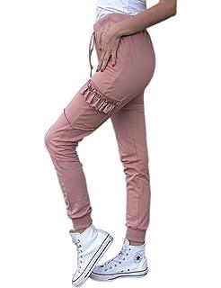 Frecoccialo Pantalon de Jogging Femme avec Poches plaquées à Rabat Volant  sur Les Jambes Taille et bbe862dfa13