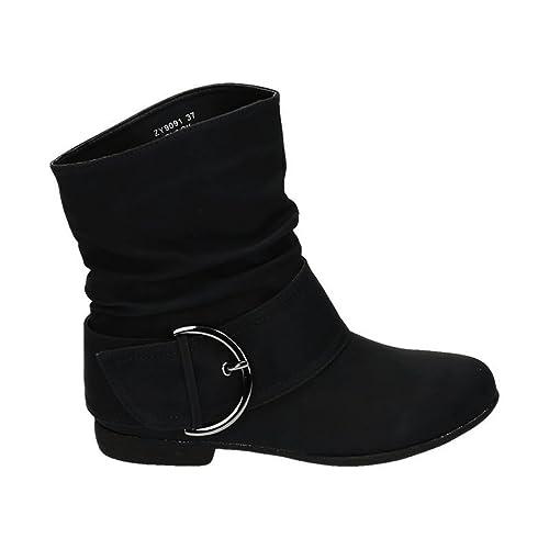 Damen Stiefeletten Cowboy Western Stiefel Boots Flache Schlupfstiefel Schuhe 91
