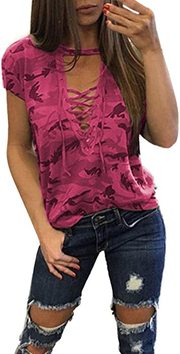 a949c71d iYYVV Fashion Women Short Sleeve Shirt Hollow Slim Casual Blouse Camouflage  Print Tops