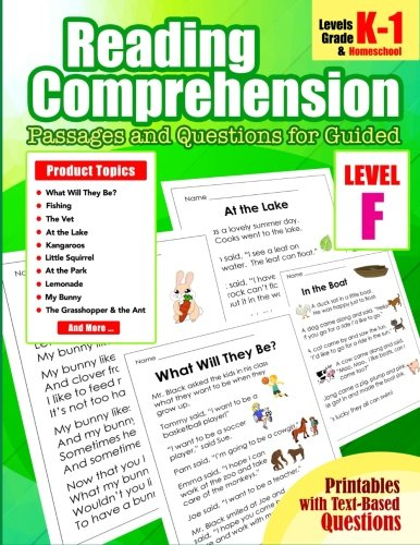 5: First Grade Close Reading Comprehension Passages and Questions for Guided: Level F Guided Reading Comprehension Strategies Passages and Questions for Homeschool, Kindergarten, 1st Grade (Volume 5)