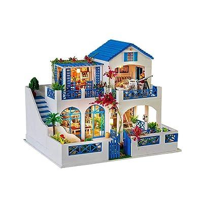 Casa de muñecas de bricolaje, casa de muñecas de madera hecha a mano en 3D Kit de bricolaje Jardín de meteoritos - Accesorios de casas de muñecas azules y blancas Adecuado como regalo y decoración del: Juguetes y juegos