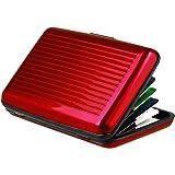 ビジネスIDネームカードホルダークレジットカードウォレットホルダーアルミメタルケースボックス防水防磁カードケースホルダー(色:赤)