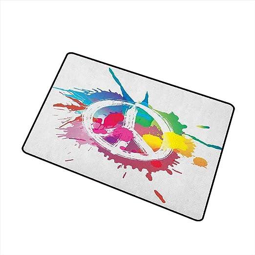 Sillgt Groovy - Felpudo Lavable, diseño de símbolo de la Paz y ...