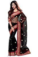 Sourbh Women's Net Saree With Blouse Piece (4271, Black, Free Size)