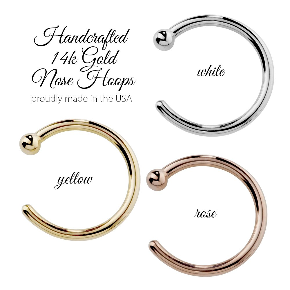 FreshTrends Nose Ring Hoop 14k White Gold 20 Gauge 3/8'' by FreshTrends (Image #6)