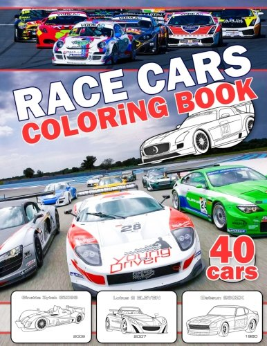 Race Cars Coloring Book (40 cars): Great Book for Kids and Adults