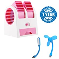 Captcha Mini Portable Dual Bladeless Small Air Conditioner Water Air Cooler Powered by USB & Battery With USB Mini Fan