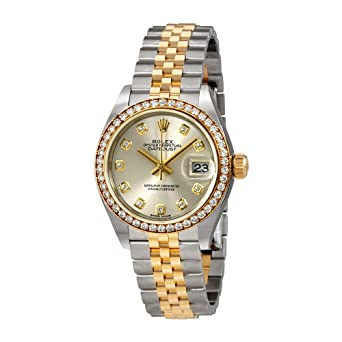 2c9912f4a6f Image Unavailable. Image not available for. Color: Rolex Lady Datejust  Silver Diamond Dial ...