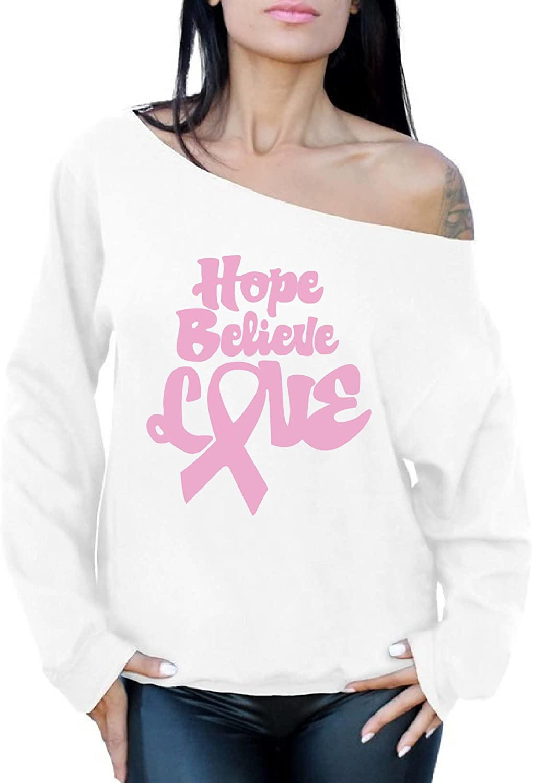 Awkward Styles Hope Believe Love Cancer Off The Shoulder Oversized Sweatshirt