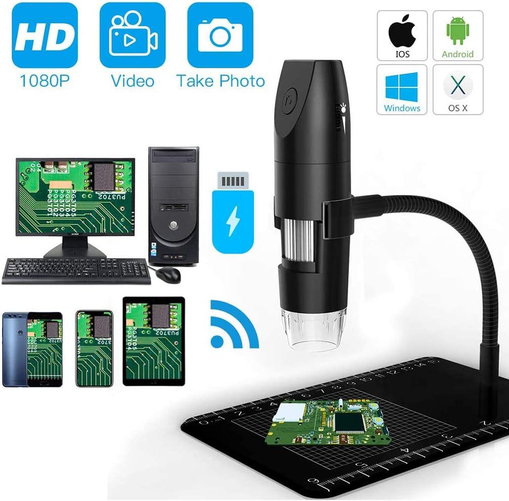 iPad Windows Mac Android Smartphone Wireless Digital WiFi USB Microscope 1080P 50X-1000X HD Magnification Microscopy with 8 LEDs for iPhone