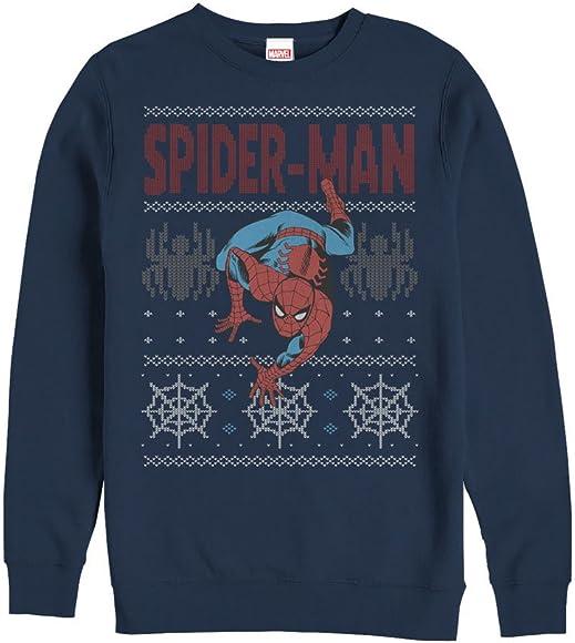 Marvel Men's Ugly Christmas Sweater Spider Man Crawl