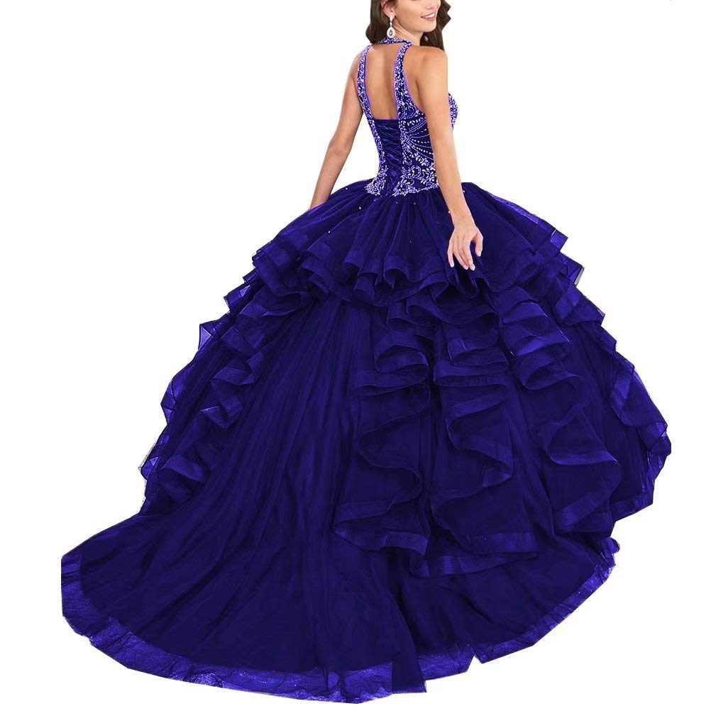 Royal bluee Unions Women Halter Crystal Beaded Prom Quinceanera Dress Sweet 16 Ball Gown Dresses