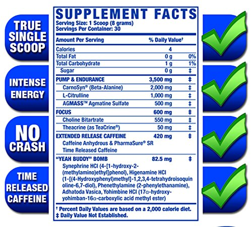 Ronnie Coleman Signature Series Yeah Buddy 30 Serve Pre Workout Supplement