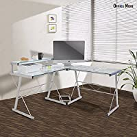 Wakrays L-Shape Corner Modern Computer Desk PC Glass Laptop Table Workstation Home Office Glass With Pull Out Keybaord Panel (57.55636, Clear)