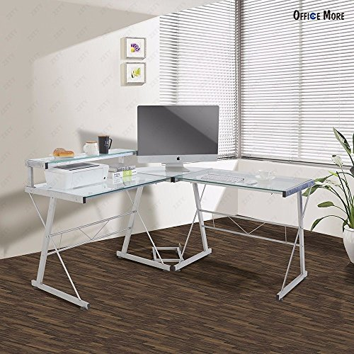 """Price comparison product image Wakrays L-Shape Corner Modern Computer Desk PC Glass Laptop Table Workstation Home Office Glass With Pull Out Keybaord Panel (57.5""""56""""36"""",  Clear)"""