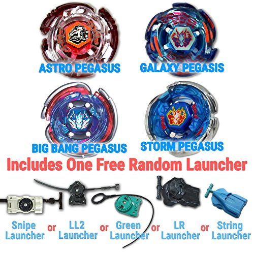 Beyblade Storm Pegasus, Big Bang Pegasus, Galaxy Pegasus, Astro Pegasus 4 Pack from Metal Fusion, Metal Fury, Metal Master Series + 1 Free Launchers Shipped from USA