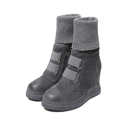 YAN Zapatos de Mujer Suede Primavera Otoño Botas Altas Botines elásticos Botines para Caminar al Aire