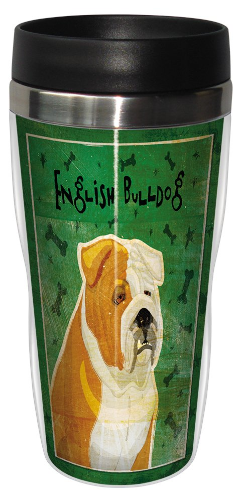 Tree-Free Greetings sg24019 Tan and White English Bulldog by John W Golden 16-Ounce Sip N Go Stainless Steel Lined Travel Tumbler