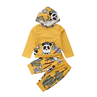 96fa51075 Amazon.com: 2Pcs Toddler Baby Boy Clothes Long Sleeve Animal Hooded T-Shirt  Tops Pants Outfits Set: Clothing