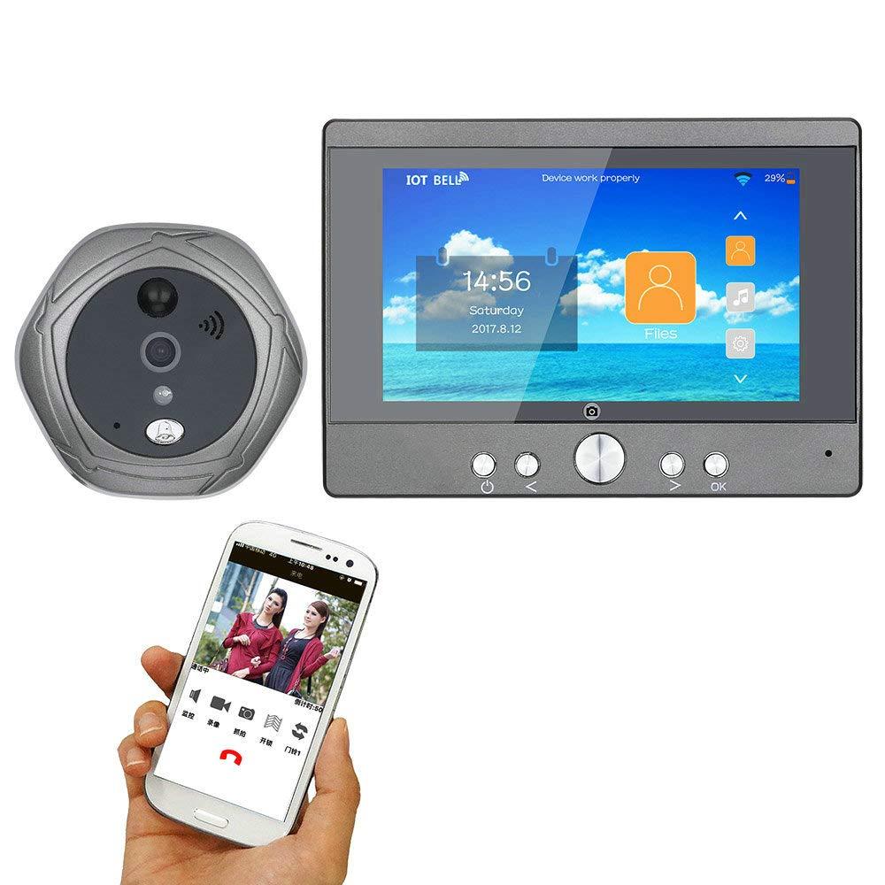 TONGTONG Video-Türklingel, 5-Zoll-Display Wireless WiFi Doorbell Digital Peephole Camera 160 Grad Ansicht Support Smartphone Für zu Hause Sicherheit wasserdicht Tür Doorbell