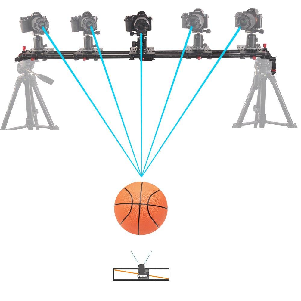 Fomito 47// 120cm 8 Axes Fibre de Carbone Suivre Focus Cam/éra Vid/éo DSLR Piste Dolly Slider pour Appareil Photo Reflex num/érique Cam/éscopes et Syst/ème de Stabilisation Vid/éo DV