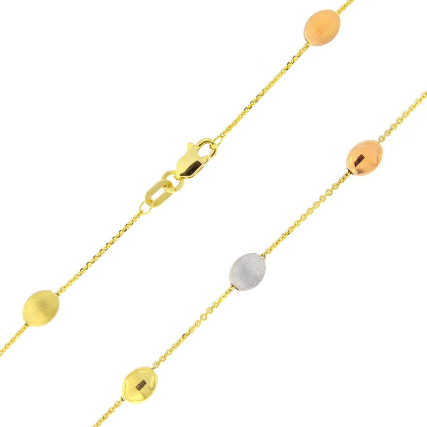 14k Yellow, White and Rose Gold Tri-Color Pebble Anklet - 10''