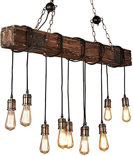Cocol Rustic Wood Beam Edison Hanging Ceiling Light Natural Reclaimed Wooden Style Pendant Lighting E26x10 Lights Retro Industrial Style Chandeliers For Bar Kitchen Dining Room Bulb Not Include Amazon Co Uk Kitchen Home