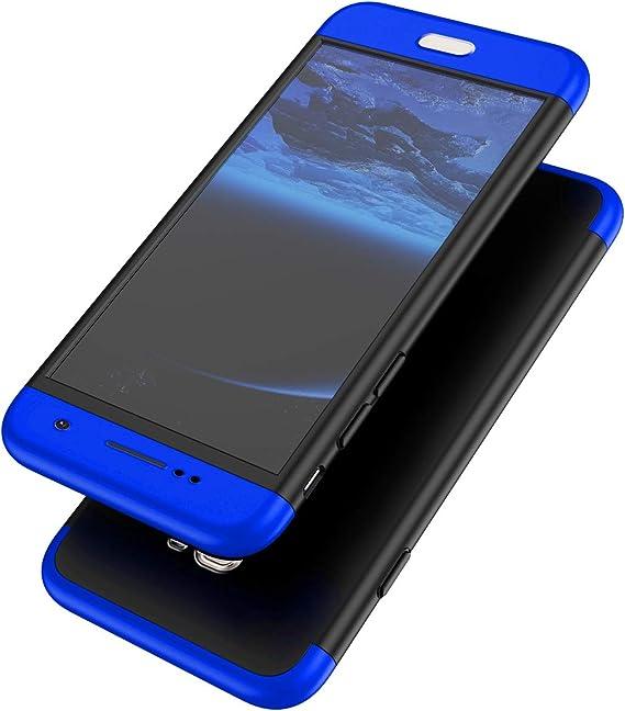 Surakey Galaxy S7 Edge Hülle 360 Grad Hülle Full Cover Panzerglas 3 In 1 Pc Hardcase Hart Hülle Full Body Case Cover Schutzhülle Hybrid Handyhülle Kompatibel Mit Samsung Galaxy S7 Edge Blau Schwarz