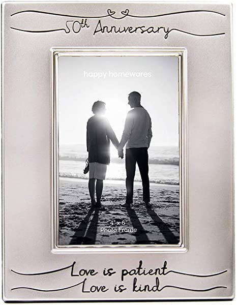 Amazon Com Haysom Interiors Beautiful Two Tone Silver Plated 50th Anniversary 4 X 6 Picture Frame With Black Velvet Unique And Thoughtful Gift Idea