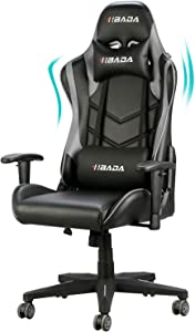 Hbada Gaming Chair Racing Style Ergonomic High Back Computer Chair with Height Adjustment, Headrest and Lumbar Support E-Sports Swivel Chair, Gray(1-Year Warranty)