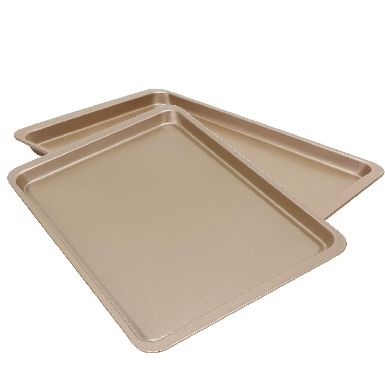 Baking Sheet 14 Inch, Beasea 2 Pack Nonstick Carbon Steel Cookie Sheet Pan Oven Baking Pans Baking Tray Rimmed Baking Pan - Gold