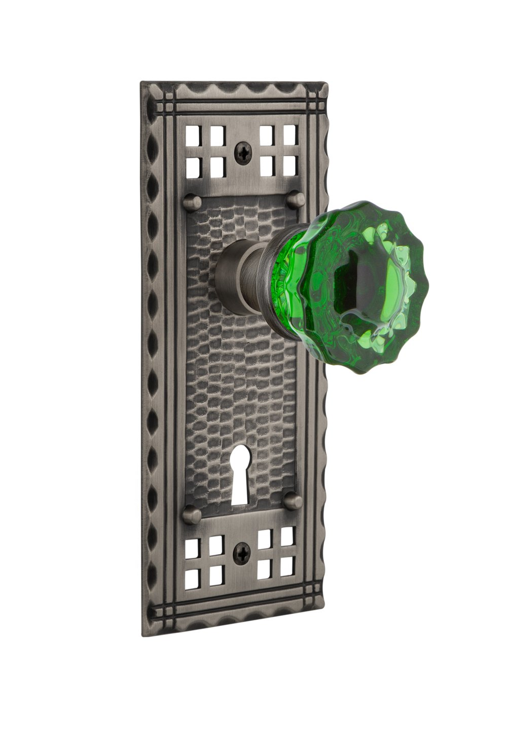 Privacy 2.375 Timeless Bronze Nostalgic Warehouse Craftsman Plate with Keyhole Crystal Emerald Glass Door Knob