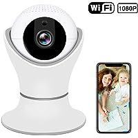 Cámara IP inalámbrica HD 1080P cámara de seguridad inalámbrica casera de 360º con vista panorámica de navegación 3D, visión nocturna por infrarrojos, audio bidireccional, detección de movimiento, camaras de vigilancia wifi interior para monitor de inicio / mascota / bebé / anciano