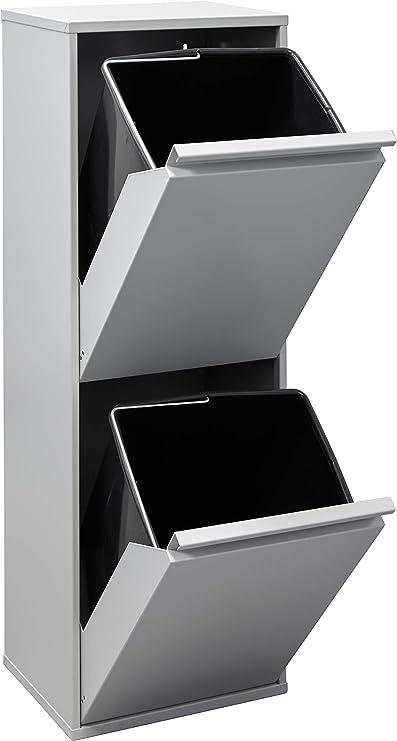 Arregui Basic Cubo de Basura y Reciclaje de Acero de 2 Compartimentos, Gris Claro, 90,5 x 30,5 x 24,5 cm: Amazon.es: Bricolaje y herramientas