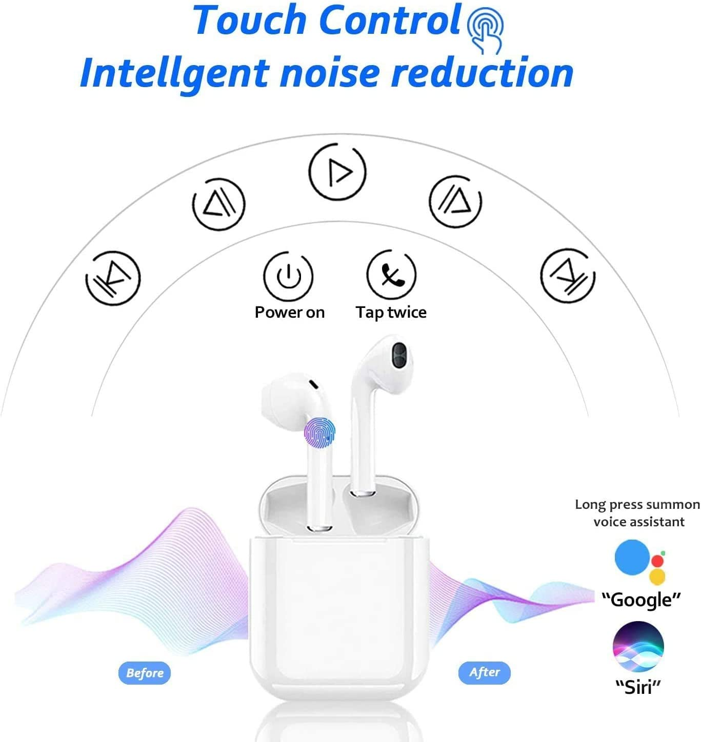 Bluetooth Earbuds for Android/iPhone Apple Airpods Built-in Mic ...