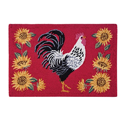C&F Home Hooked Parisian Rooster Parfait Rug, Red