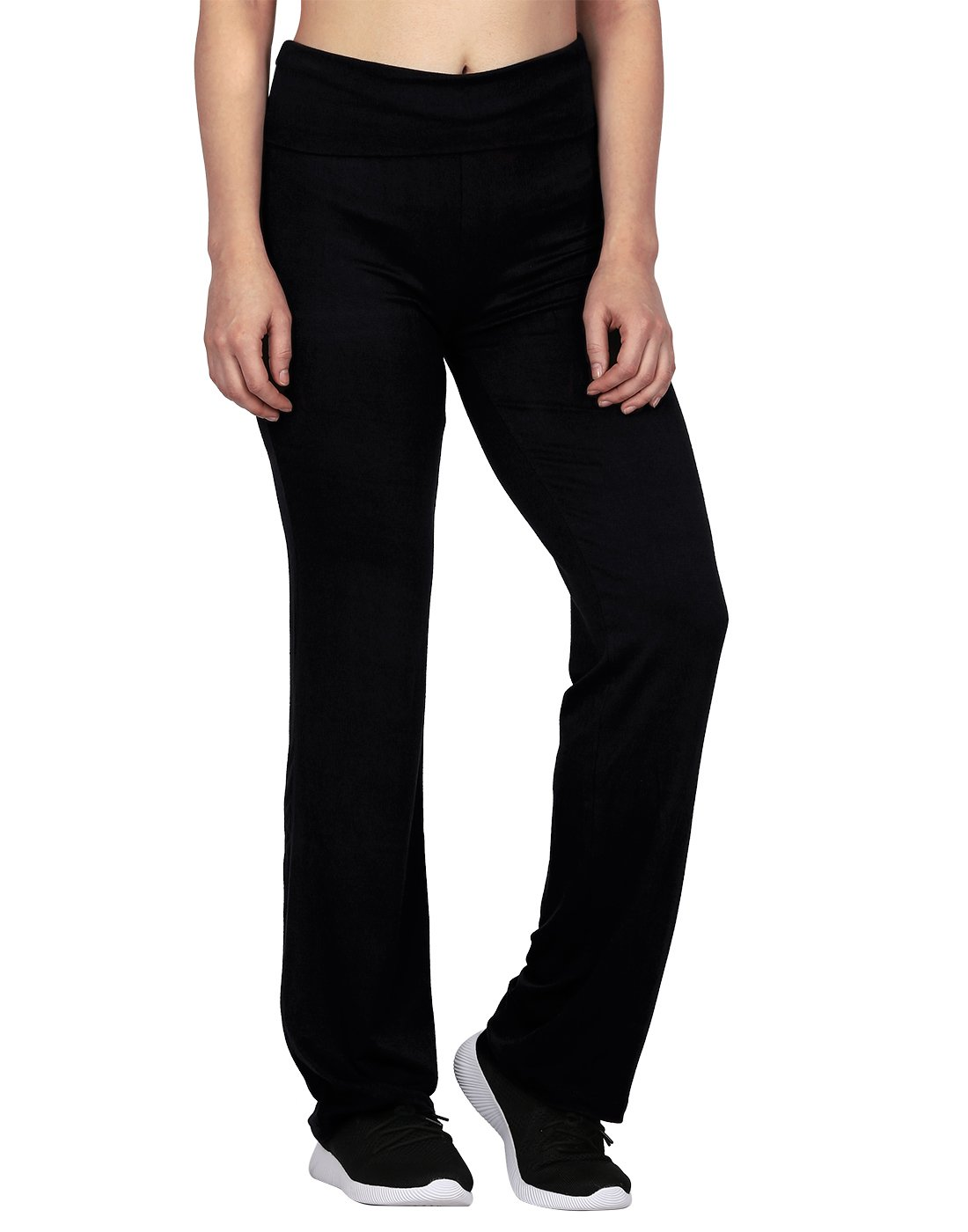 HDE Women's Maternity Yoga Pants Comfortable Lounge Pregnancy Pants Folded Waist (Black, Large)