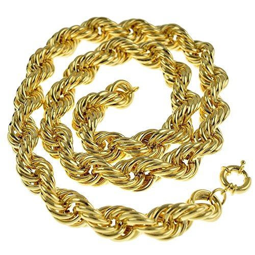 Bling Cartel Hollow Rope Chain 20mm Thick 14K Gold Plated Old School Style Hip Hop Dookie 30 Inch ()