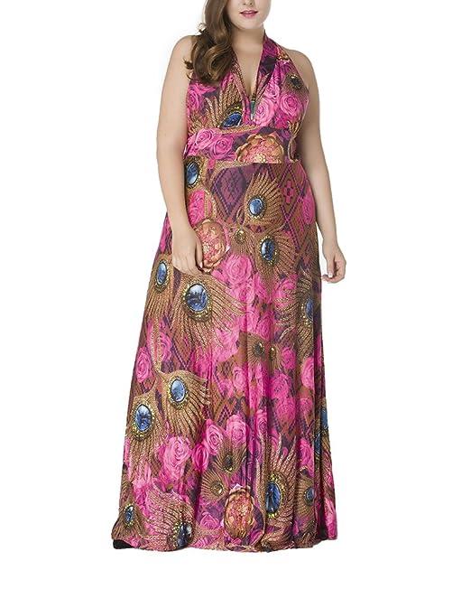 GladiolusA Vestidos Mujer Tallas Grandes Boho Estampado Vestido De Playa Fiesta Casual V Cuello Vestidos Largos