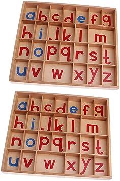 PETSOLA 2 Montessori Material Madera Alfabeto Móvil con Caja ...